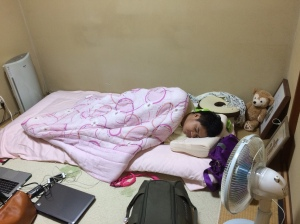 Trying out the local Japanese bed
